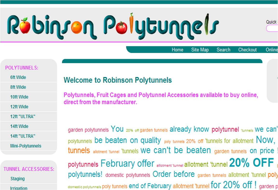 Snapshot of Robinson Polytunnels Home Page