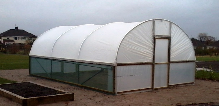 Completed polytunnel clad with diffused polythene