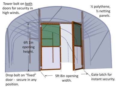 Double Hinged Door Kit (for one end)  sc 1 st  Robinson Polytunnels & Polytunnel Double Hinged Door Kit (for one end)