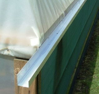 Aluminium Polytunnel Gutter One Side 10ft Side Rail Fixing